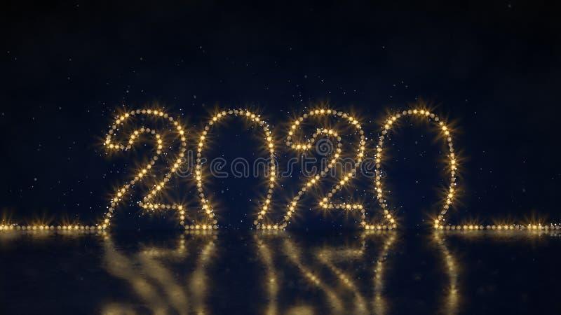 Отправьте SMS 2020 из света 3D веревочки представьте иллюстрацию иллюстрация вектора