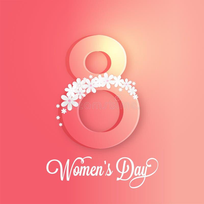 Отправьте SMS 8-ое марта украшенному с цветками и стильной литерностью дня женщин бесплатная иллюстрация