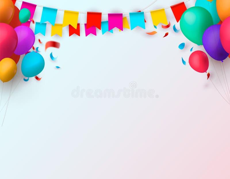 Отпразднуйте знамя Флаги партии с confetti и воздушными шарами также вектор иллюстрации притяжки corel иллюстрация вектора