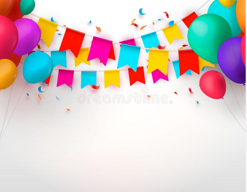 Отпразднуйте знамя Флаги партии с confetti и воздушными шарами также вектор иллюстрации притяжки corel иллюстрация штока