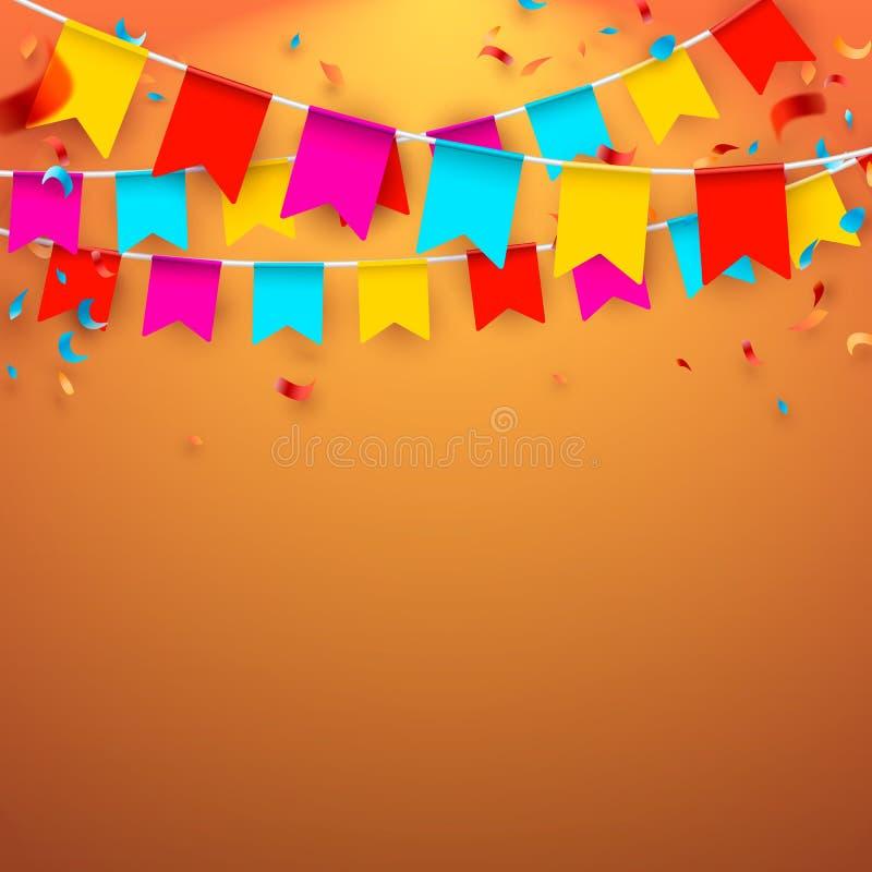 Отпразднуйте знамя Флаги партии с confetti и воздушными шарами также вектор иллюстрации притяжки corel бесплатная иллюстрация