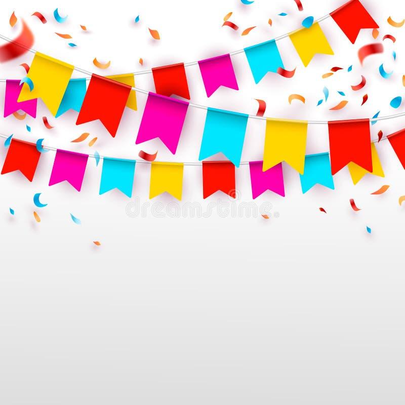 Отпразднуйте знамя Флаги партии с confetti также вектор иллюстрации притяжки corel бесплатная иллюстрация