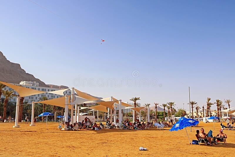 Отпускники и туристы отдыхают на мертвом морском курорте на предпосылке роскошных гостиниц стоковые фото