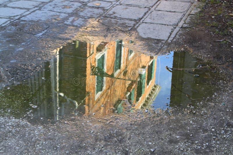 Отражение в лужице стоковые изображения rf