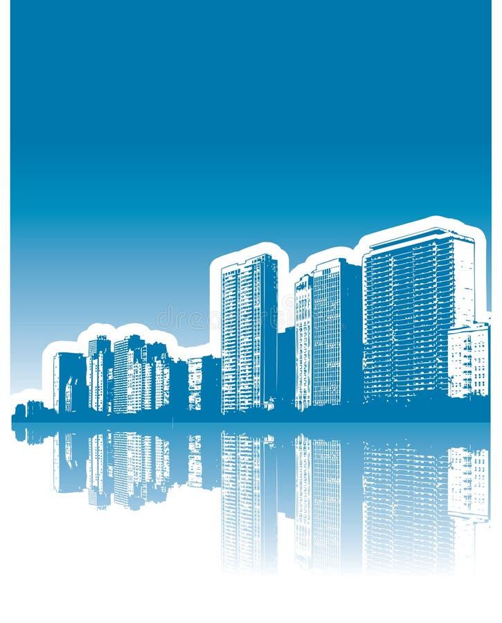 отражение города зданий иллюстрация вектора