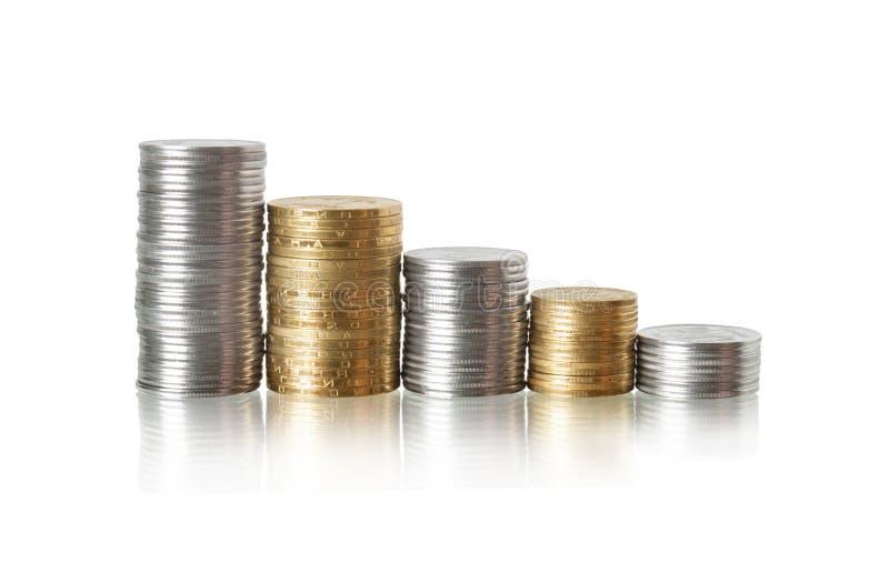 отражение диаграммы монетки стоковые изображения rf