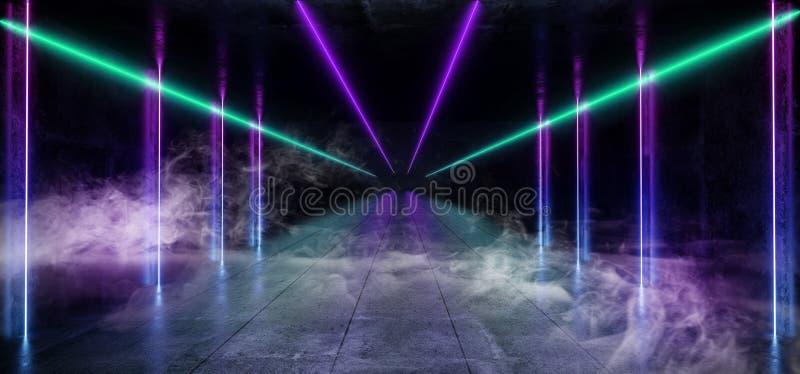 Отражение лазерных лучей голубой вертикальной горизонтальной прямой пурпура тумана дыма темное пустое виртуальное живое дневное н бесплатная иллюстрация