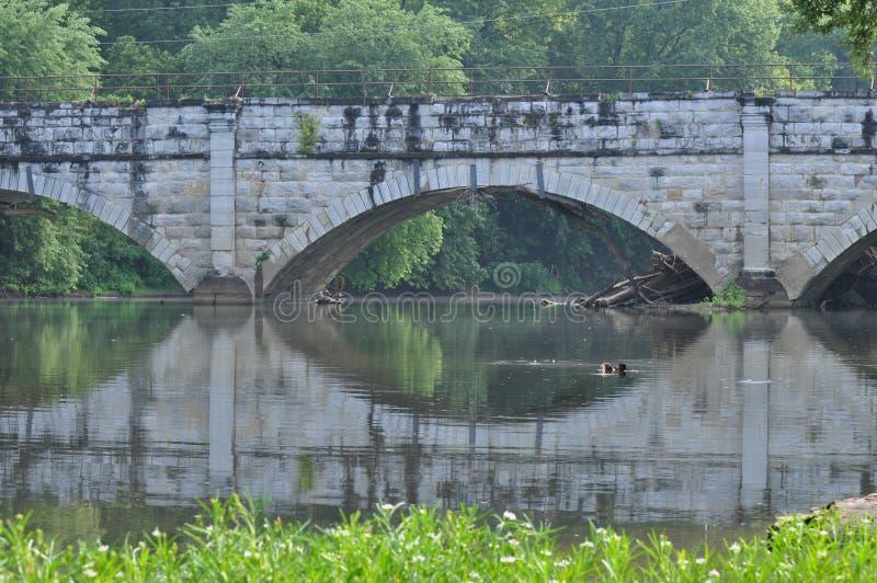отражение мост-водовода стоковое фото