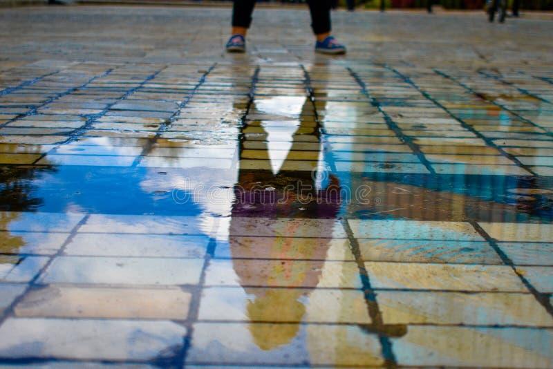 Отражение на воде маленькой девочки стоковые изображения rf