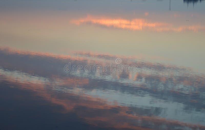 Отражение неба в воде, заход солнца в Таллине, Эстонии стоковая фотография rf