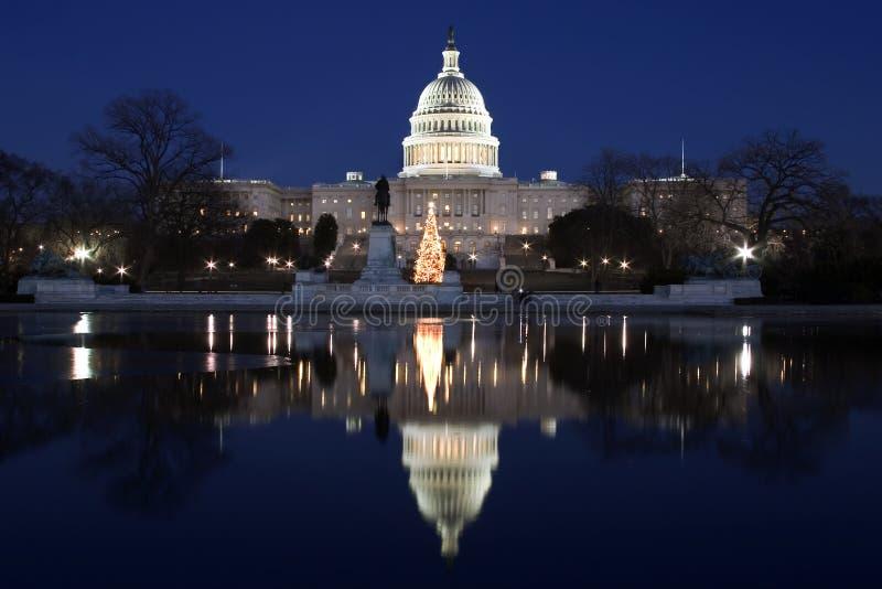 Download отражение ночи капитолия стоковое изображение. изображение насчитывающей бассеин - 480153