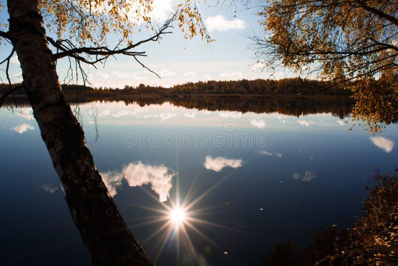 Отражение Солнця на озере вокруг желтого леса стоковые изображения rf