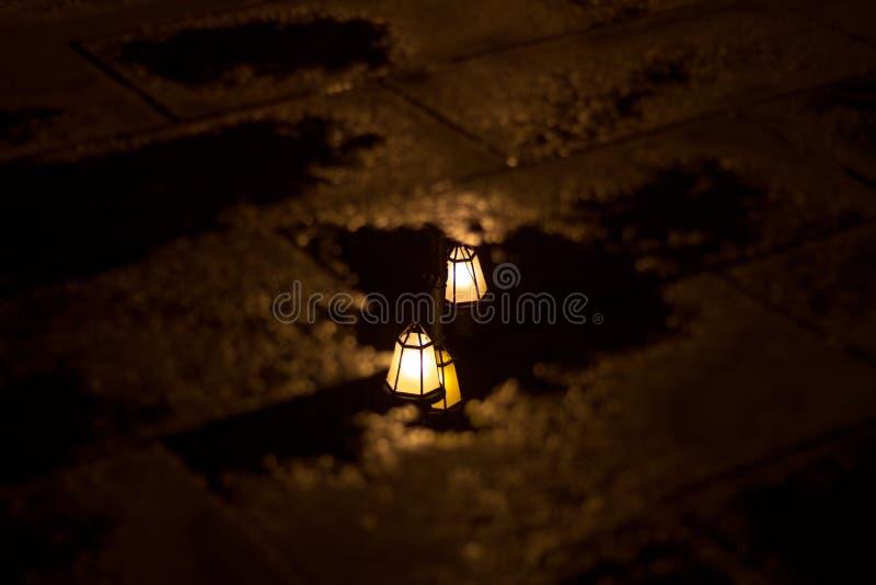 Отражение уличного света на лужице стоковое фото rf
