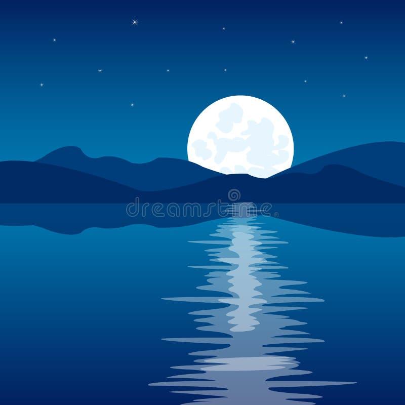 Отражение луны в воде иллюстрация штока