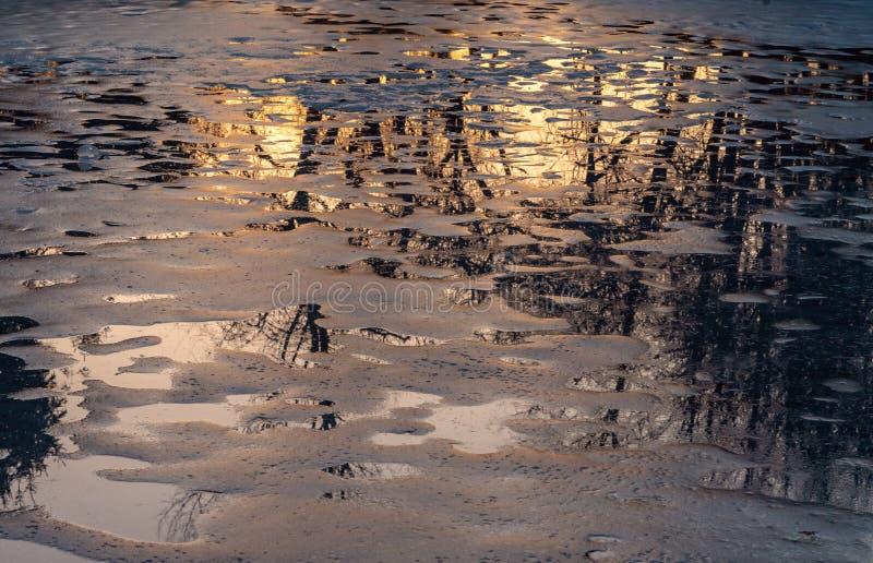 Отражение цветов захода солнца желтых и золотых стоковое изображение