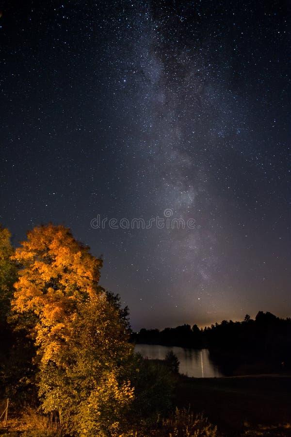 Отражения млечного пути с озера стоковое изображение