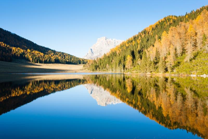 Отражения на воде, панорама осени от озера горы стоковое изображение