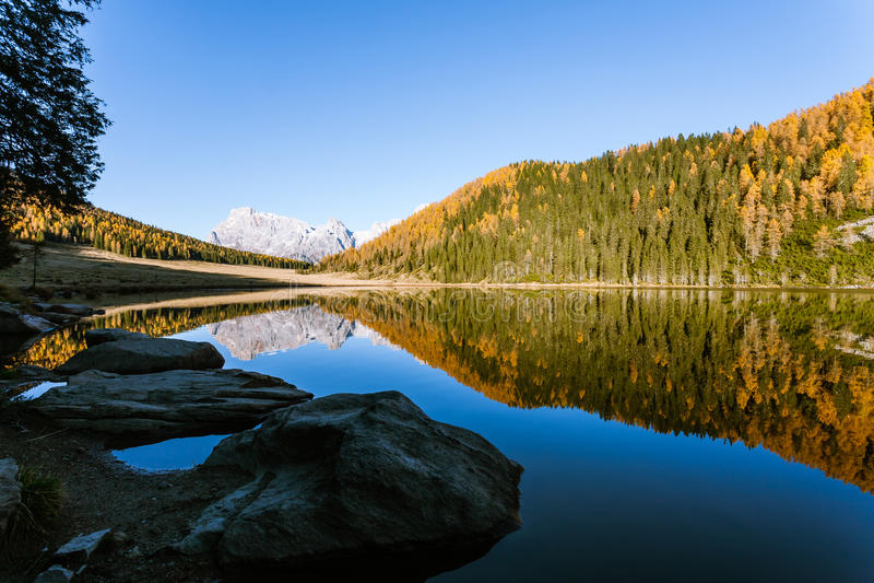 Отражения на воде, панорама осени от озера горы стоковые изображения rf