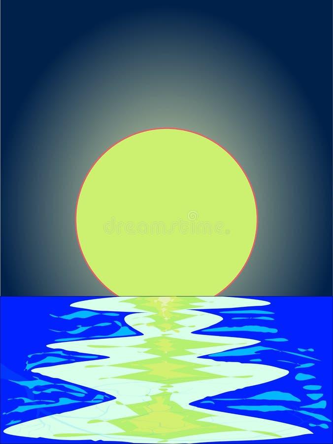 Отражения океана вечера с луной предпосылки бесплатная иллюстрация