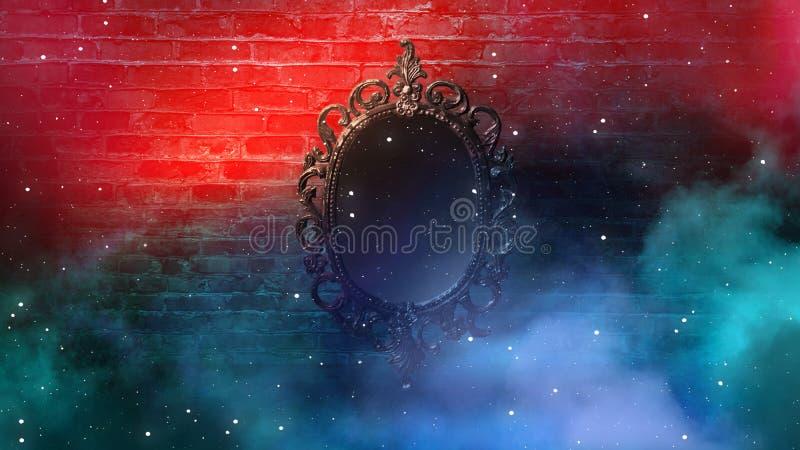 Отразите говорить волшебных, удачи и выполнение желаний Кирпичная стена с густым дымом, стоковая фотография rf