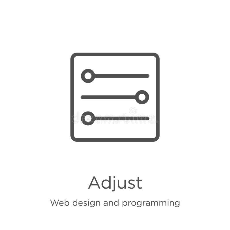 отрегулируйте вектор значка от веб-дизайна и программируя собрания Тонкая линия регулирует иллюстрацию вектора значка плана r иллюстрация вектора