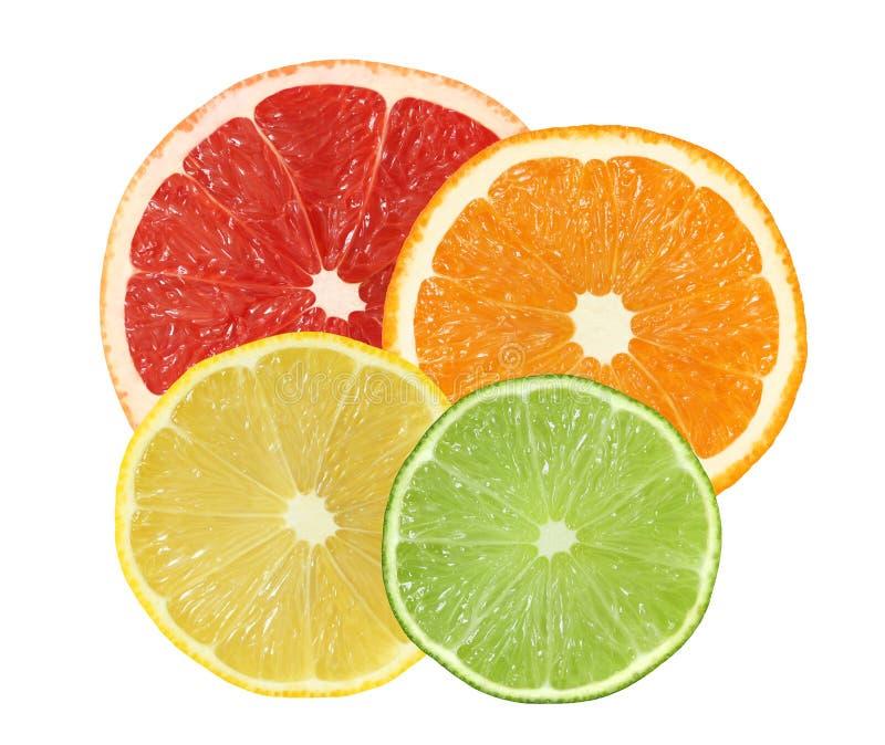 Отрежьте апельсин, грейпфрут, лимон, изолированные плодоовощи известки стоковая фотография