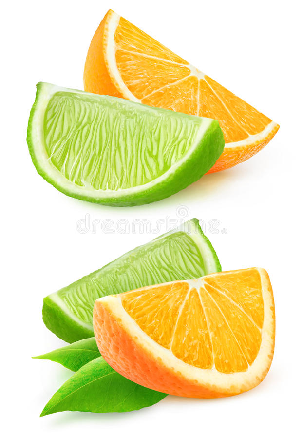 отрежьте апельсин и известку стоковое фото rf