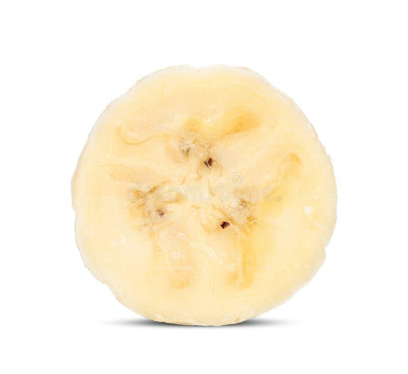 Отрежьте банан изолированный на белизне с путем клиппирования стоковое фото rf