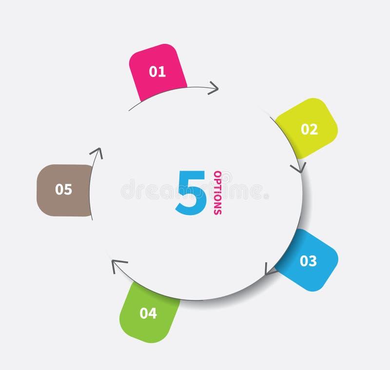 Отрежьте бумажный круг infographics иллюстрация вектора