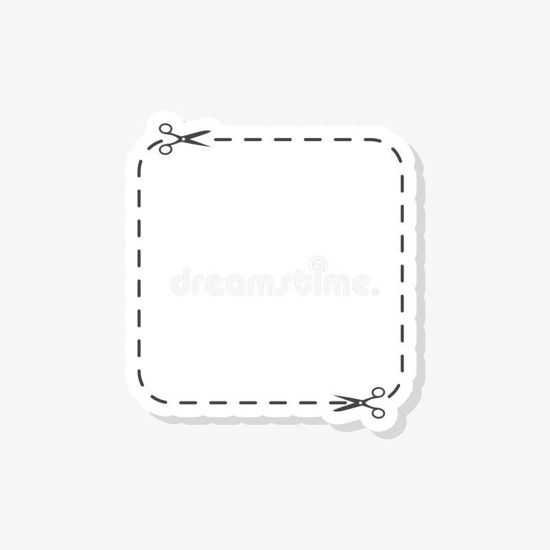 Отрежьте вне талон с стикером ножниц, простым значком вектора иллюстрация вектора