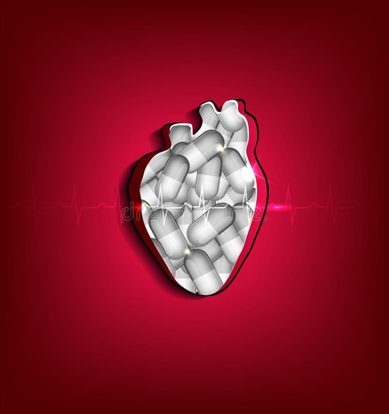Отрежьте вне человеческое сердце иллюстрация вектора