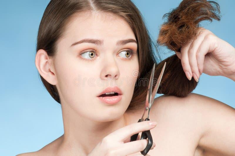 отрежьте женщину волос совершенную стоковые изображения rf