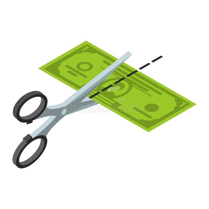 Отрежьте значок полдоллара, равновеликий стиль иллюстрация вектора