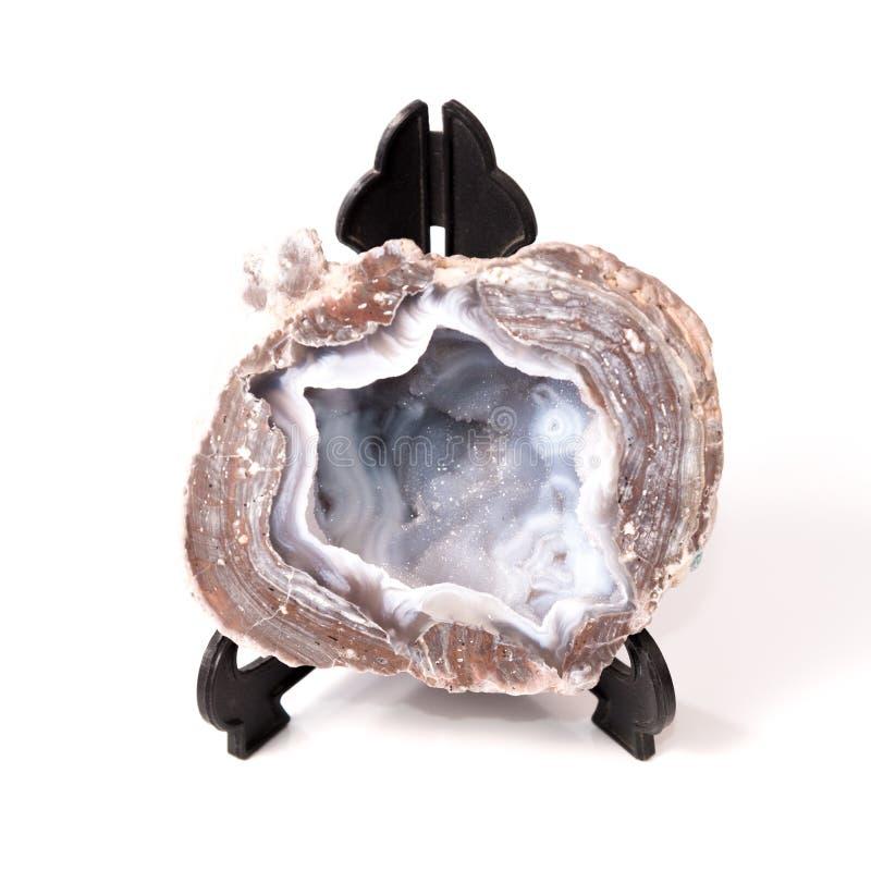 Отрежьте и отполировал утес Geode стоковые изображения rf