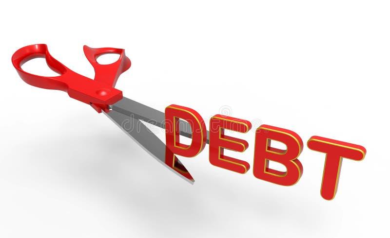 Отрежьте концепцию задолженности иллюстрация вектора