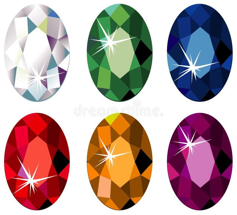 отрежьте овальные драгоценные камни sparkle иллюстрация вектора