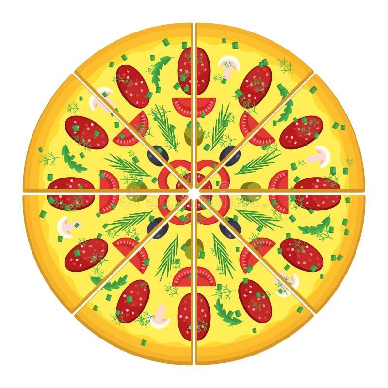 Отрежьте пиццу с сосиской бесплатная иллюстрация