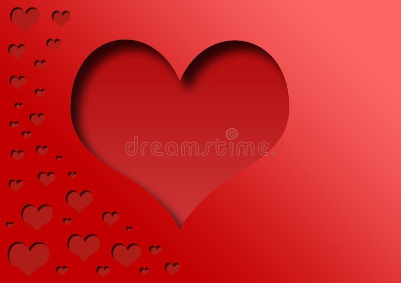 Отрежьте сердца на красной предпосылке иллюстрация штока