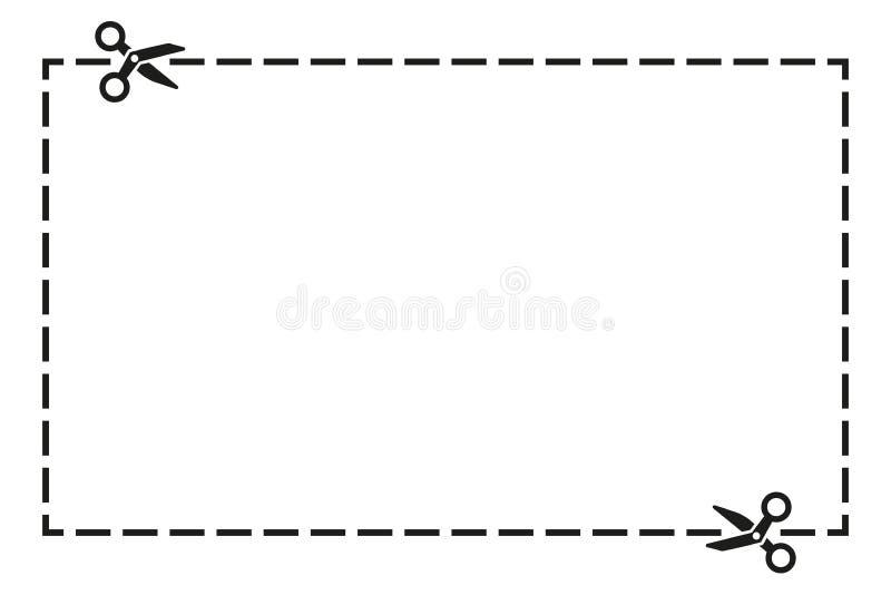 Отрезанная вне форма прямоугольника талона со значком ножниц также вектор иллюстрации притяжки corel иллюстрация вектора