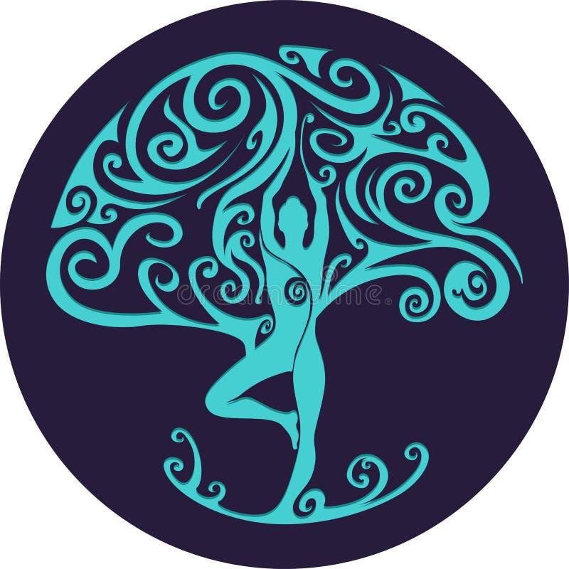 Отрезанное бумагой вне дерево йоги иллюстрация штока