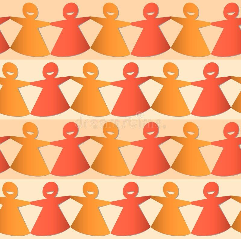 Отрезанные вне диаграммы бумажной цепи женские в тенях оранжевого и желтого иллюстрация вектора
