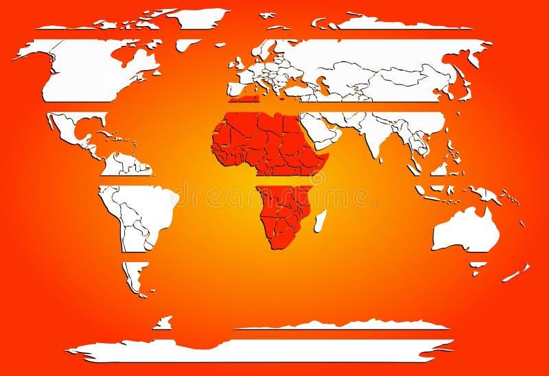 Отрезанные континенты карты мира белые с красной теплой Африкой иллюстрация вектора