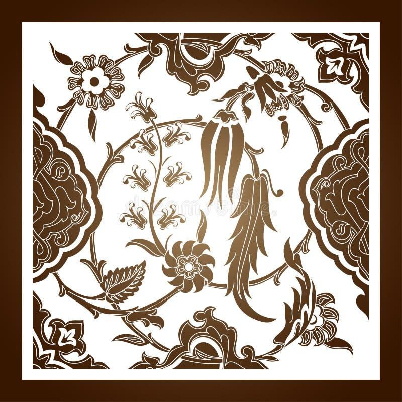 Отрезанный лазером флористический вектор картины орнамента арабескы Отрезок шаблона иллюстрация штока