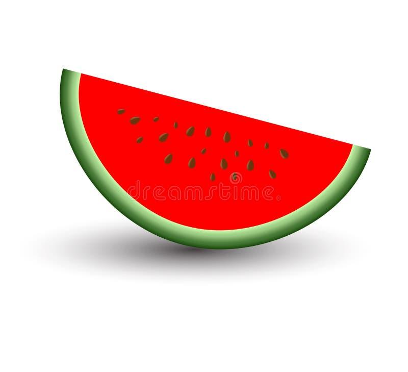 Отрезанный зрелый красный арбуз и сладостное вкусное изолированные на белой предпосылке иллюстрация вектора