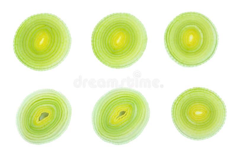 Отрезанный овощ лук-порея изолированный на белой предпосылке r r Установите или собрание стоковые фотографии rf