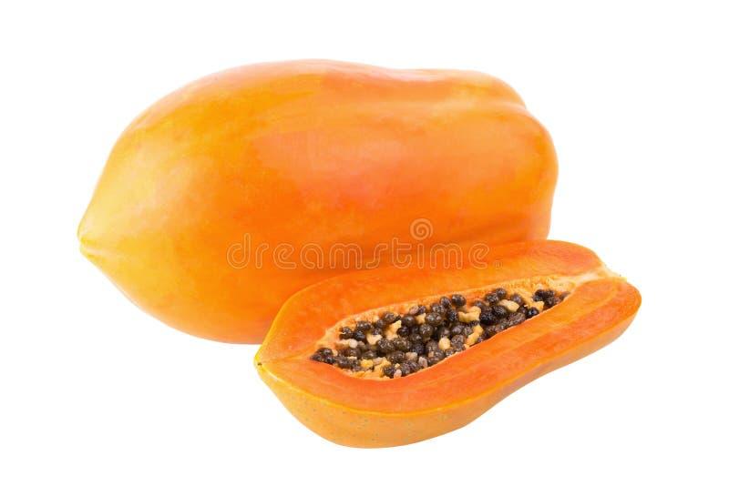 Отрезанный плодоовощ папапайи изолированный на белой предпосылке стоковые фото