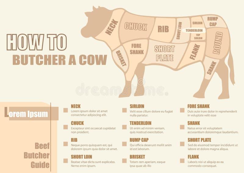 Отрезки диаграммы говядины иллюстрация вектора