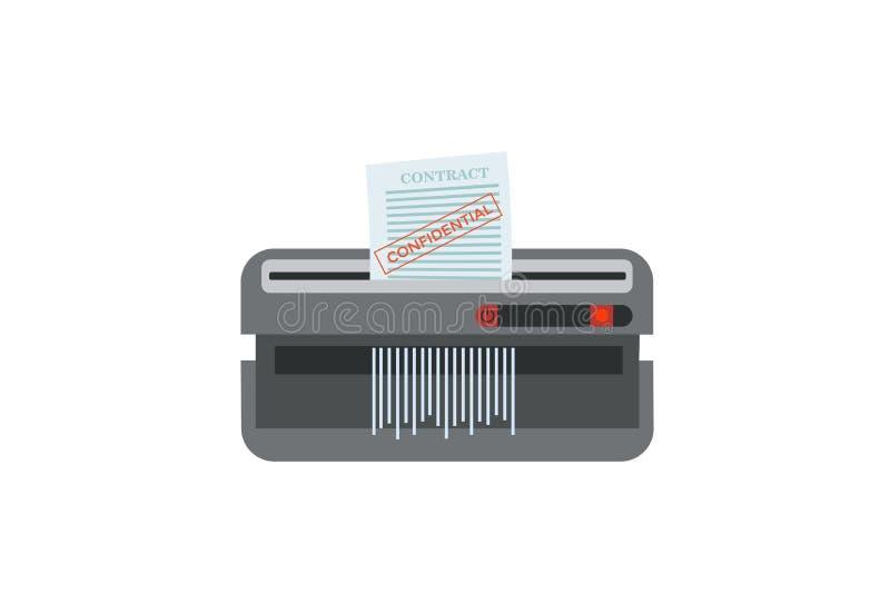 Отрезки шредера печатный документ в прокладки с конфиденциальной печатью Немногословный знак на белой предпосылке Настольная верс иллюстрация штока