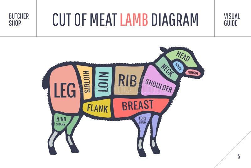 Отрезок комплекта говядины Диаграмма мясника плаката и схема - овечка иллюстрация вектора