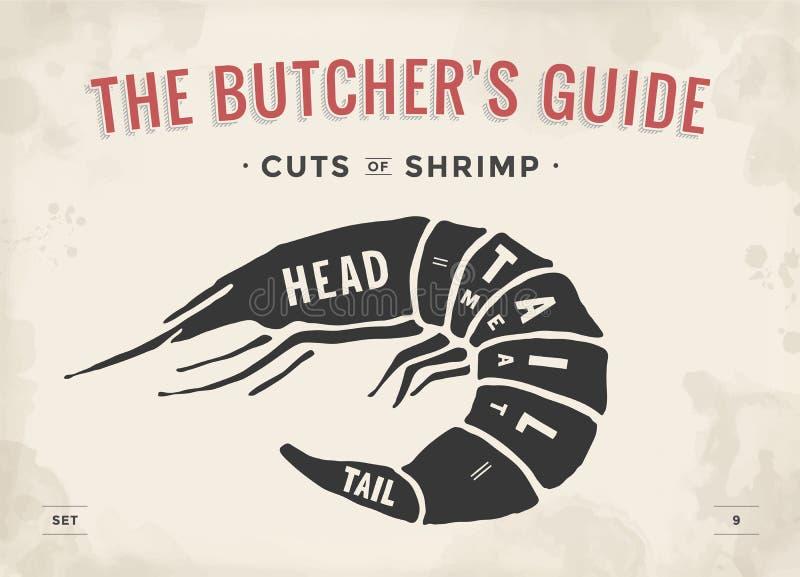 Отрезок комплекта мяса Диаграмма мясника плаката и схема - креветка иллюстрация вектора